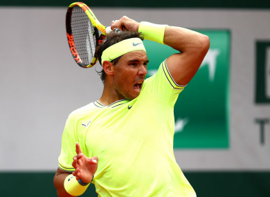 Rafael Nadal during today's French Open final.