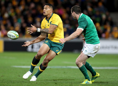 Folau playing for Australia against Ireland in June 2018.