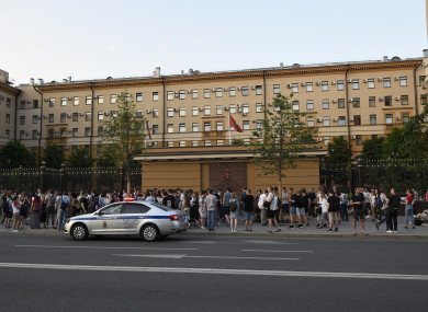 Colleagues and friends of detained journalist Ivan Golunov, at Russian Internal Ministry building in Moscow