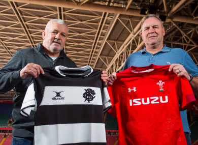 Gatland and Pivac at today's announcement in Cardiff.