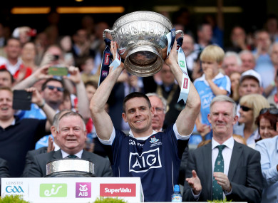 Stephen Cluxton lifts the Delaney Cup in 2017.