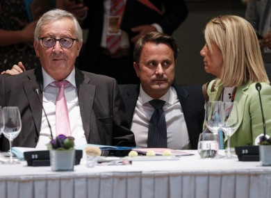 Luxembourg's Prime Minister Xavier Bettel with Jean-Claude Juncker during the EU summit.