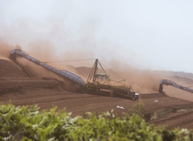 File photo of turf cutting machinery in action on the Bog of Allen outside Edenderry in County Offaly