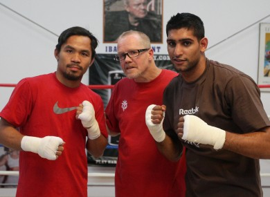 Manny Pacquiao, trainer Freddie Roach and Amir Khan in 2009.