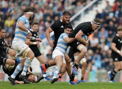 Brodie Retallick of New Zealand on the attack.