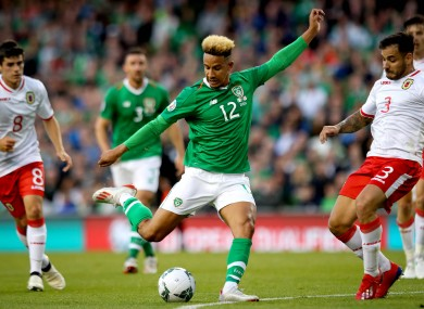 Robinson in action for Ireland against Gibraltar in June.