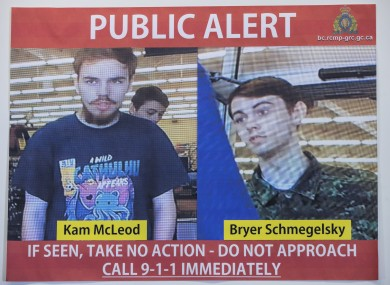 Security camera images of Kam McLeod, 19, and Bryer Schmegelsky, 18, are displayed during a news conference in Surrey, British Columbia