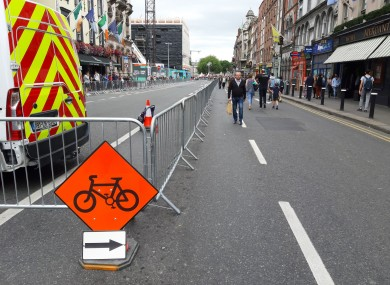 Metal barriers cordon off a section of Dame Street this afternoon