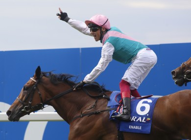 Frankie Dettori celebrating Saturday's win on board Enable.