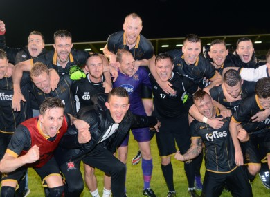 Dundalk players celebrate after beating BATE in 2016.