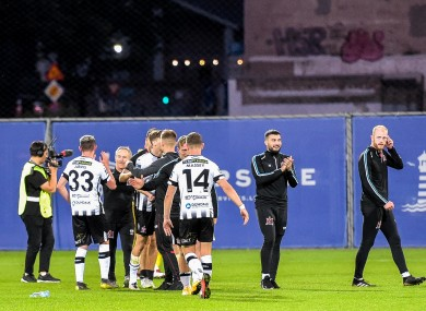 The Dundalk players celebrating their victory over Riga.