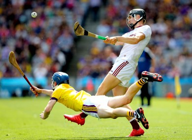 Dylan Whelan and Paddy Cummins do battle at Croke Park.