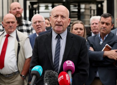 Edward Barnard, whose brother Patrick was murdered by the Glenanne gang, speaks to media outside the Belfast High Court.