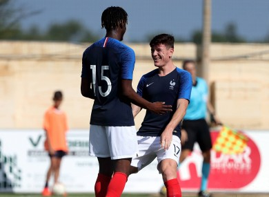 Charles Abi (L) of France Under-19 featured against Ireland on Thursday.