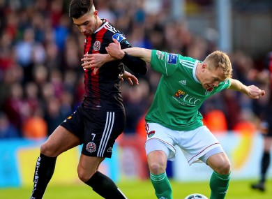 Danny Mandroiu of Bohemians and Cork City's Conor McCormack (file pic).