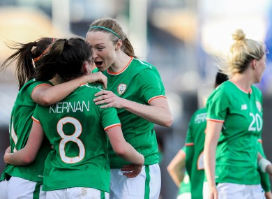 Leanne Kiernan, Katie McCabe and Louise Quinn celebrate a World Cup qualifier goal against Slovakia last year.