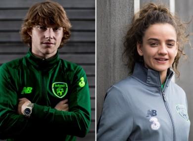 Ireland U19 midfielder Luca Connell and WNT striker Leanne Kiernan.