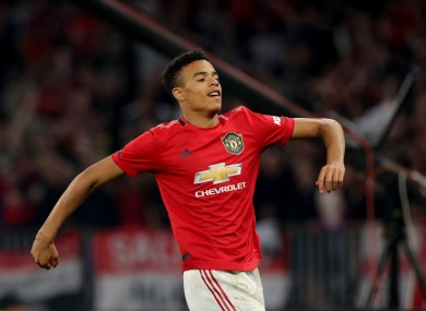 Mason Greenwood celebrates scoring for Man United.