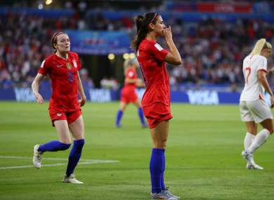 Alex Morgan was criticised by some for her celebration.
