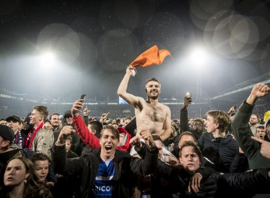 Crowley celebrates a KNVB Cup semi-final win over AZ in February.