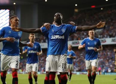 Sheyi Ojo celebrates after scoring Rangers' second goal.