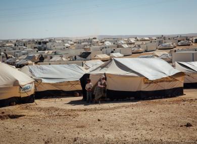 A refugee camp on the Syrian-Jordan border.