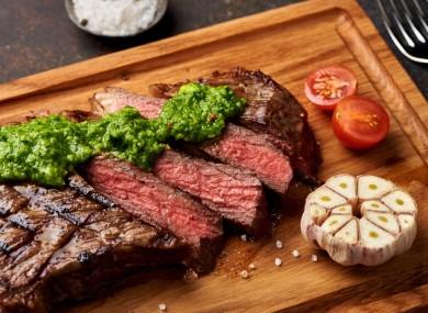 Steak with chimichurri sauce.