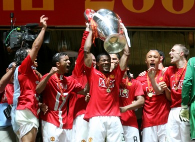 Evra lifting the Champions League trophy in 2008.