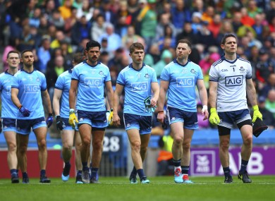 Stephen Cluxton leads Dublin out before last month's Leinster final.