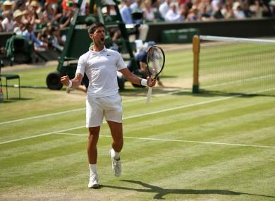 Djokovic celebrates victory after winning his semi-final.