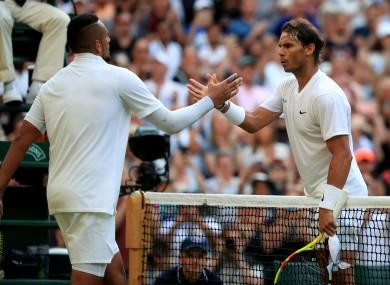 Kyrgios and Nadal at the death.