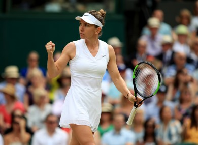 Halep in action at Wimbledon on Saturday.