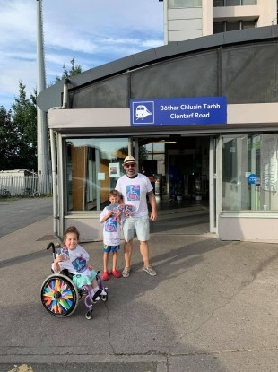 Bernard Mulvany, his daughter Sophia and son Liam handing out information leaflets at Clontarf Road station yesterday.