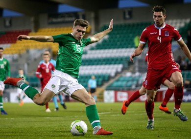 Aaron Drinan has a shot on goal during the Ireland U21s' win against Luxembourg back in March.
