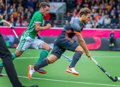 Jonathan Bell in action today against Netherlands.
