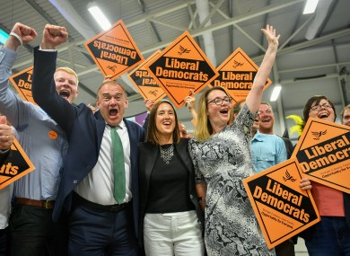 Liberal Democrats Jane Dodds celebrates with supporters