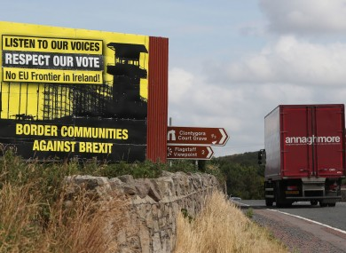 Anti-Brexit billboards on the northern side of the border between Newry in Northern Ireland and Dundalk
