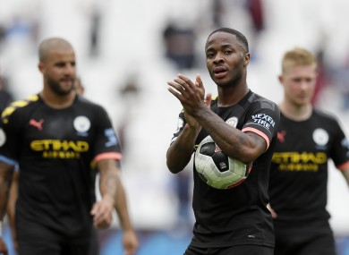 Raheem Sterling with the match ball.