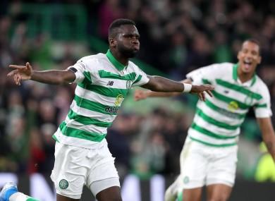 Celtic's Odsonne Edouard celebrates his second-half goal.