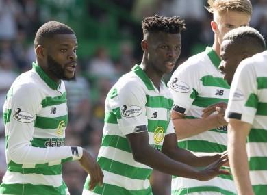 Celtic's Vakoun Issouf Bayo celebrates scoring his side's first goal.