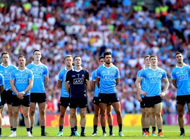 Dublin stand for the national anthem before the 2018 All-Ireland final.