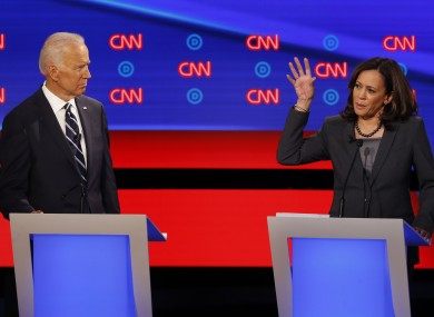 Former US Vice President Joe Biden and California Sen. Kamala Harris participate on the second night of the CNN Democratic Presidential Debate at the Fox Theater in Detroit