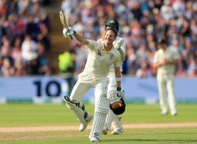 Smith celebrates his century.