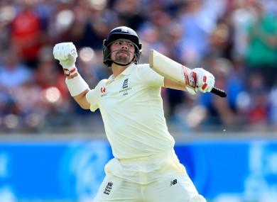 Burns celebrates his maiden Test century.