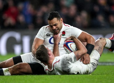 Happier times: Te'o and George Ford celebrate against Scotland.