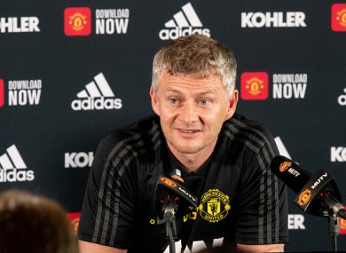 Solskjaer speaking at a press conference on Friday.