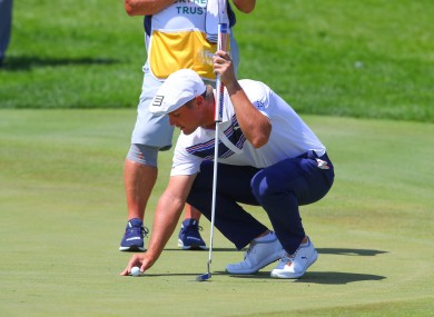 Bryson DeChambeau on the 3rd green during the final round of the Northern Trust golf tournament.