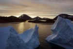 Aerial view of large Icebergs floating as the sun rises near Kulusuk, Greenland, last week.