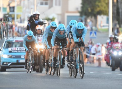 Astana claim victory during the opening stage.