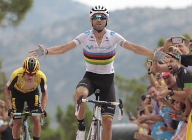 Alejandro Valverde celebrates.